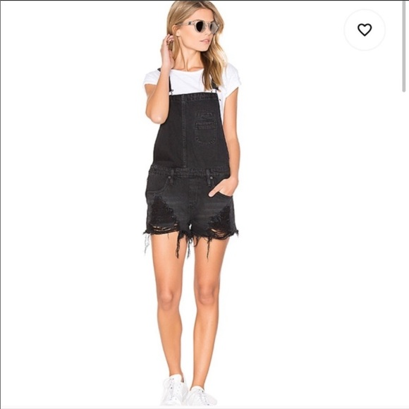 Blank NYC distressed denim overall short